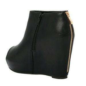 aac53a09849d torrid Shoes - Torrid Black Wedge Peep Toe Bootie (Wide Width)